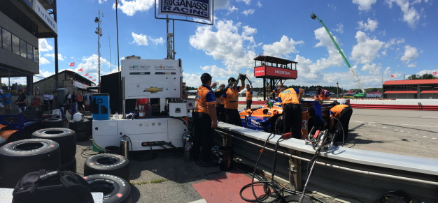 Back on pit lane during practice 2.