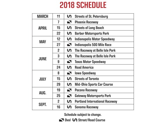 2018 INDYCAR schedule builds on consistency, adds Portland event
